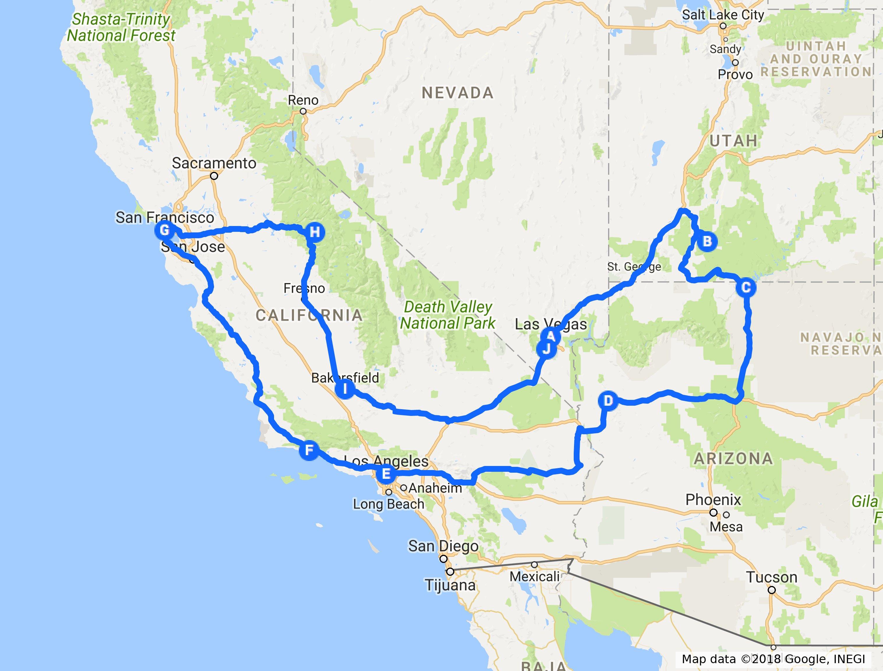 route road trip west amerika 2018