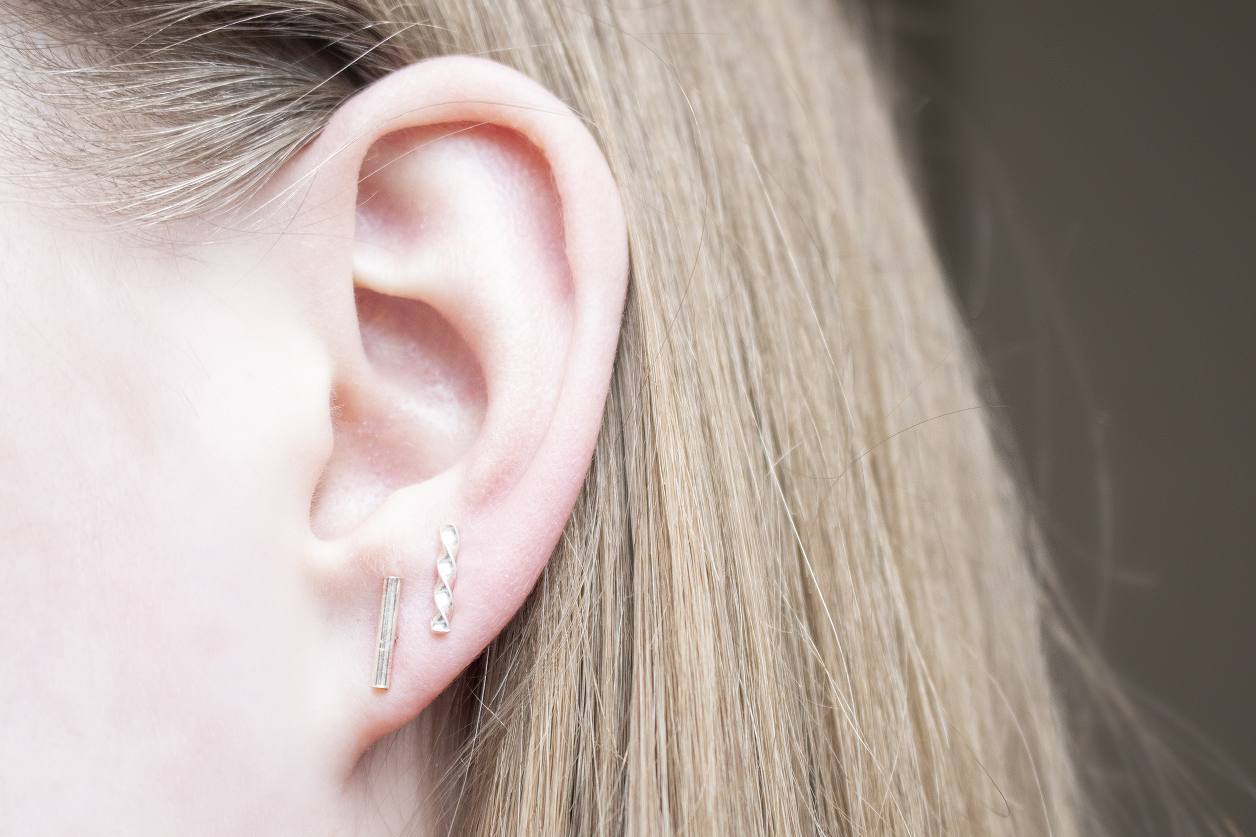 zilveren staafjes oorbellen