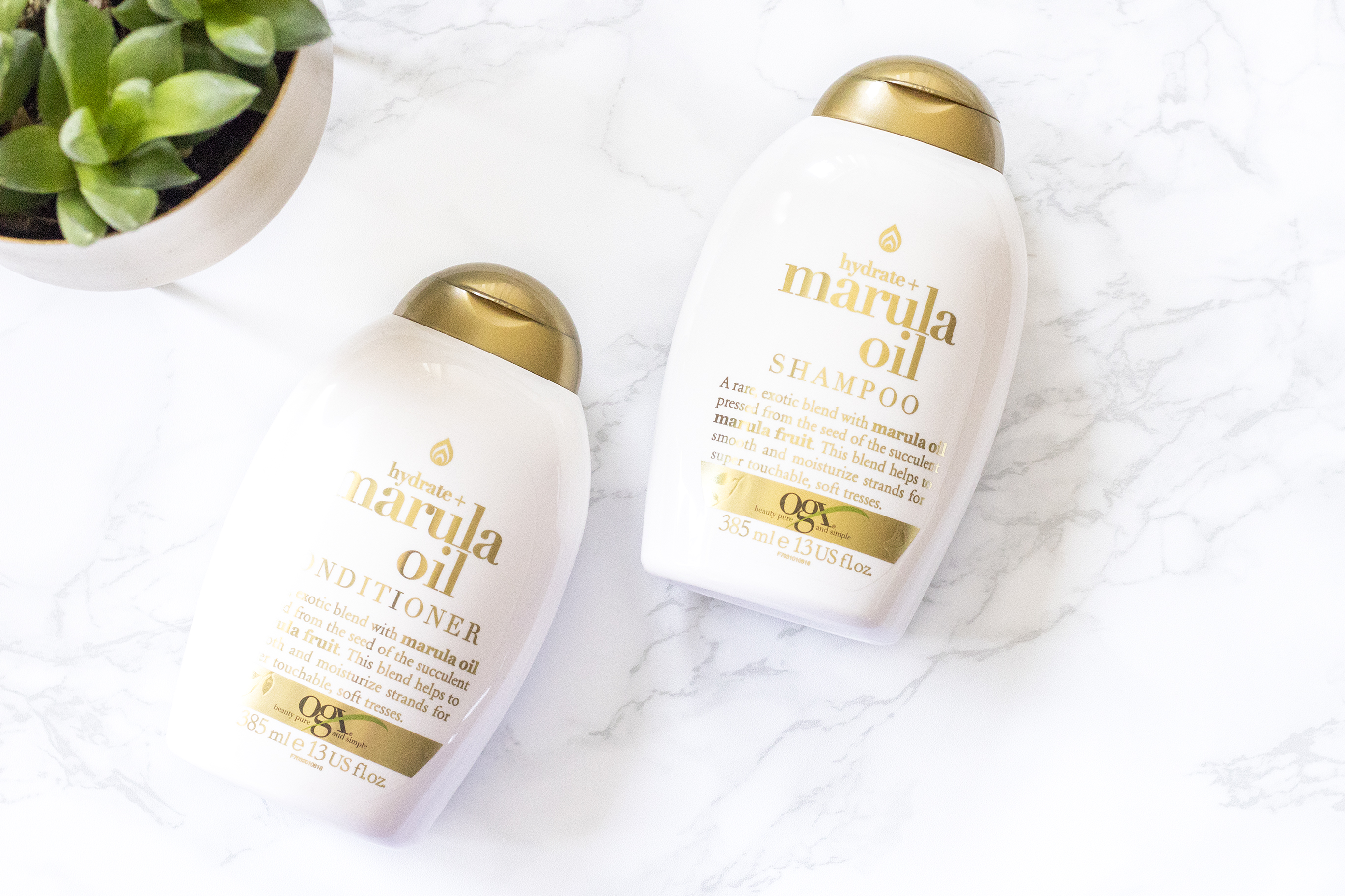 hydrate + marula oil shampoo conditioner ogx review
